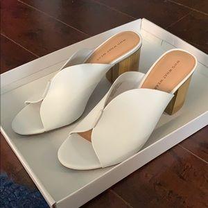 Who What Wear White Open-Toe Wood-Block Heels